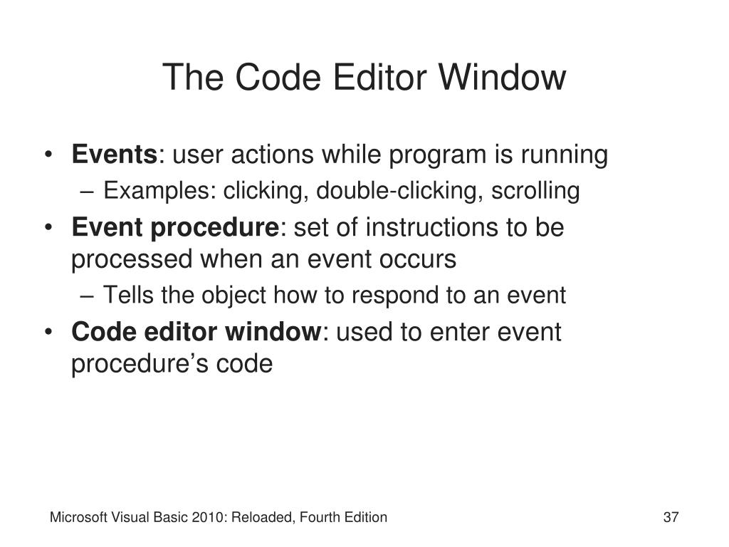 The Code Editor Window