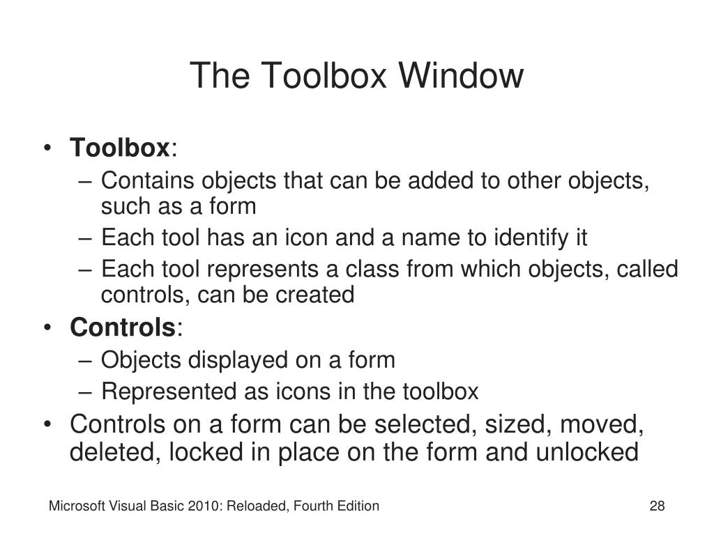 The Toolbox Window