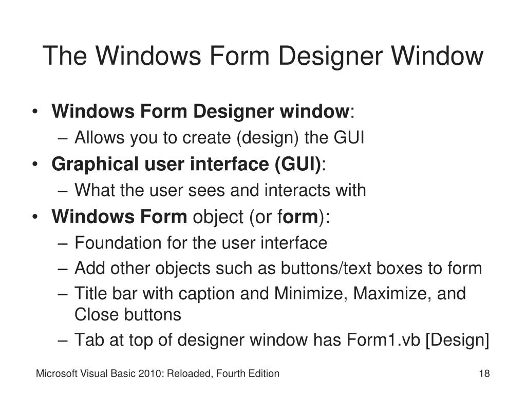 The Windows Form Designer Window