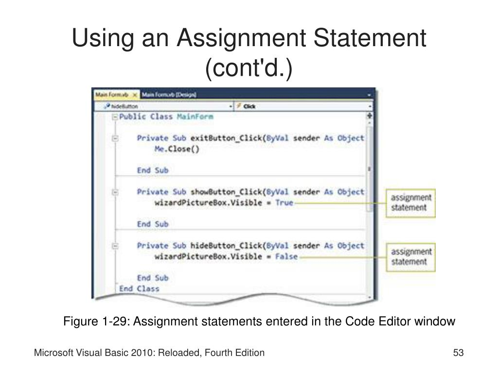 Using an Assignment Statement (cont'd.)