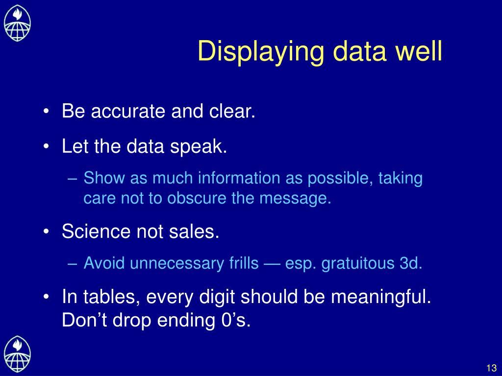 Displaying data well