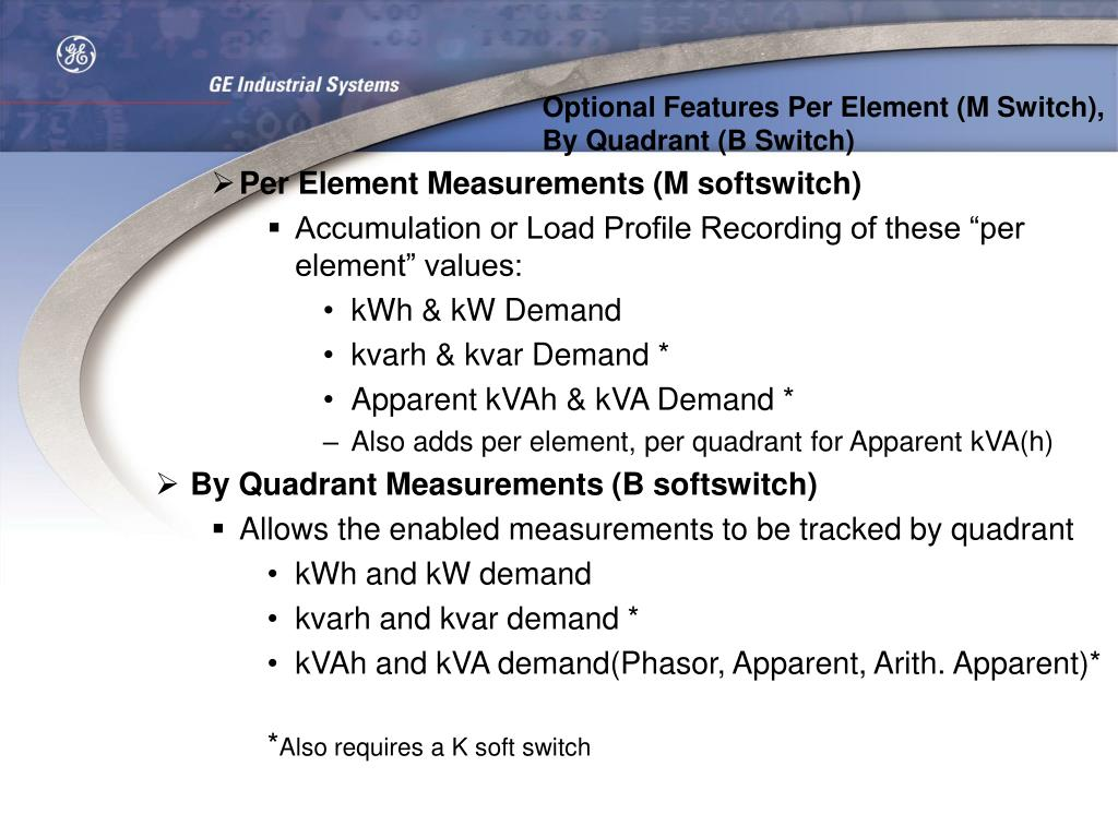 Optional Features Per Element (M Switch), By Quadrant (B Switch)