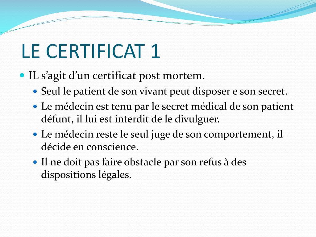 LE CERTIFICAT 1