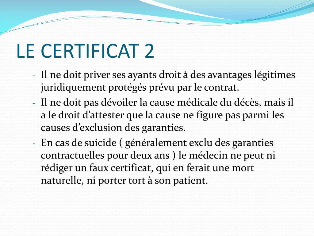 LE CERTIFICAT 2