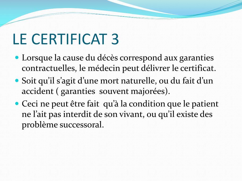 LE CERTIFICAT 3