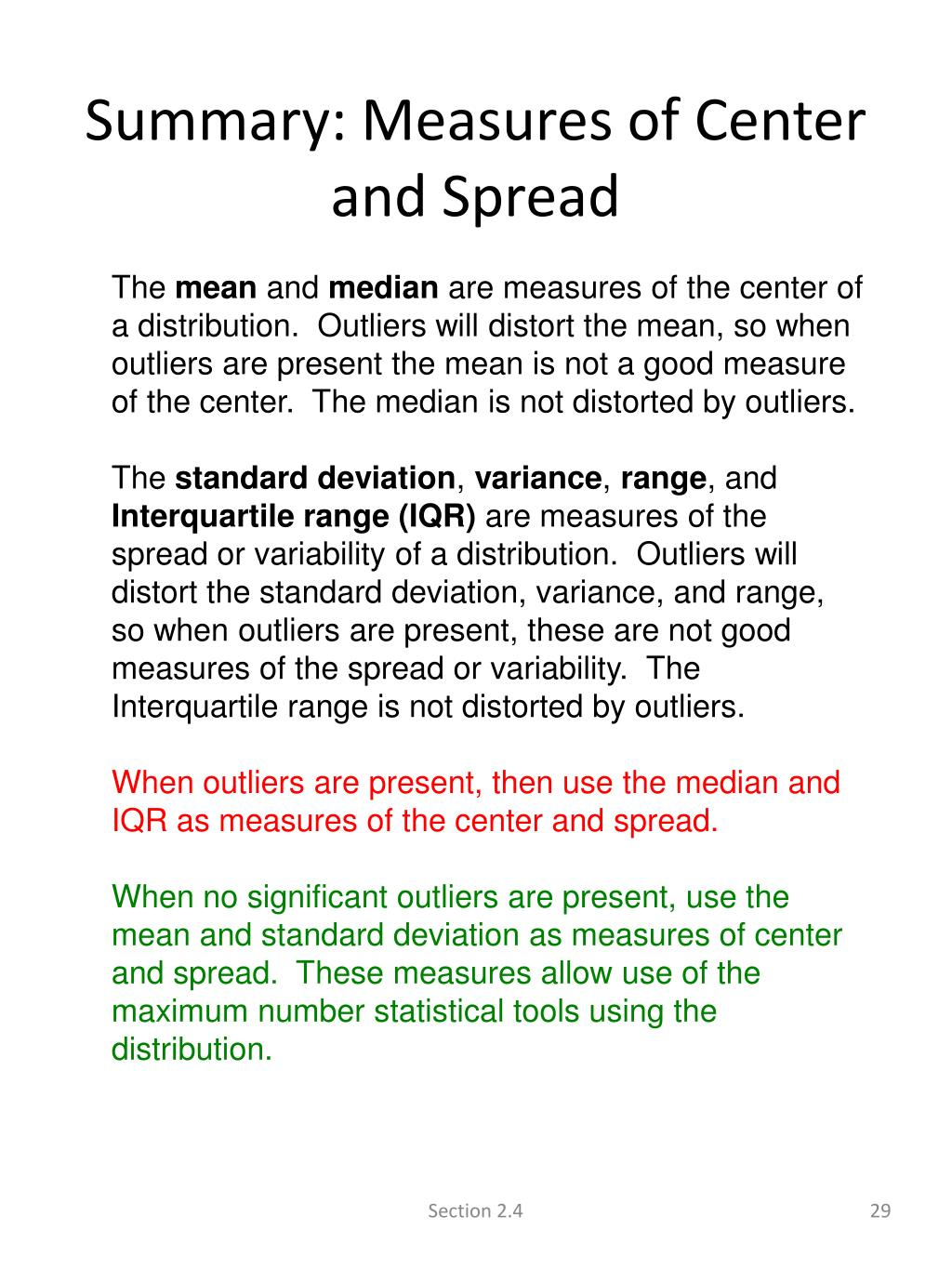 Summary: Measures of Center and Spread