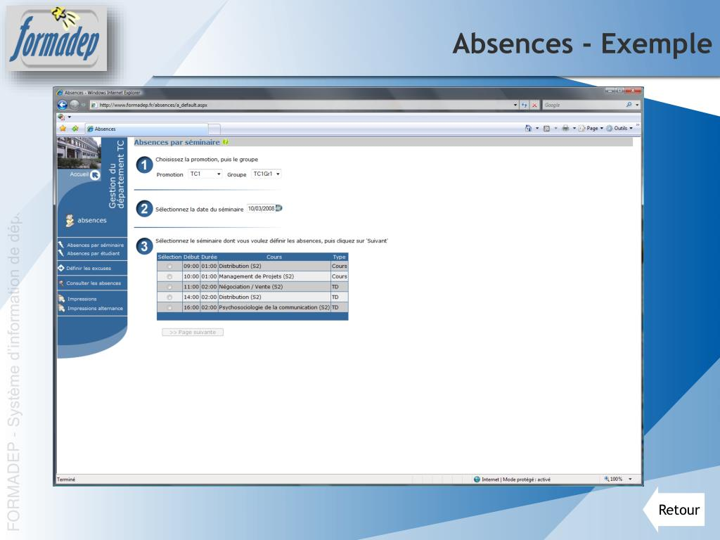 Absences - Exemple