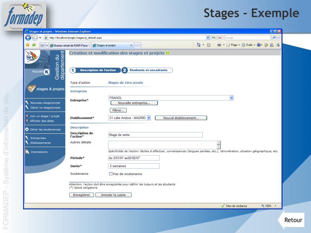 Stages - Exemple