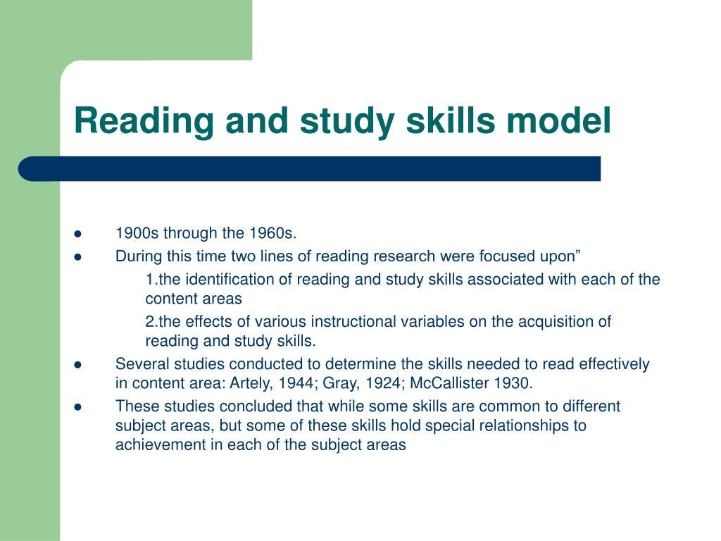 Reading and study skills model
