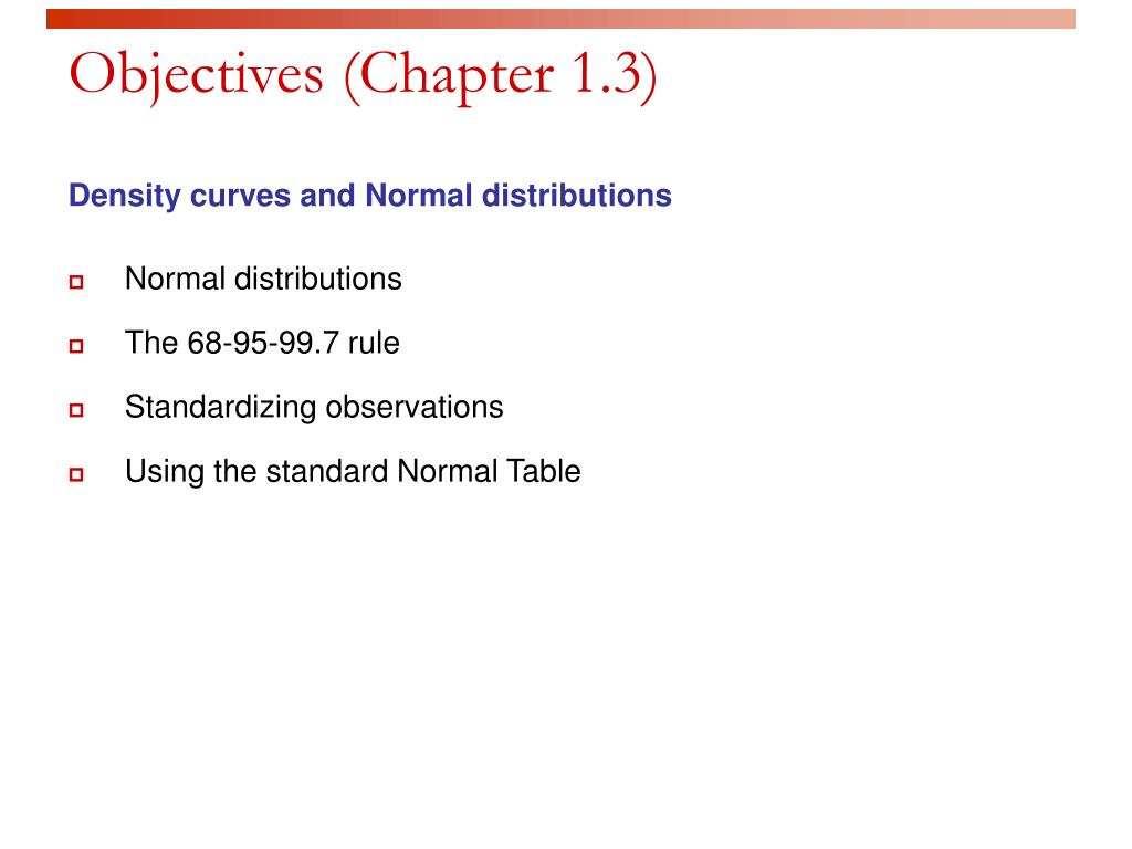 Objectives (Chapter 1.3)