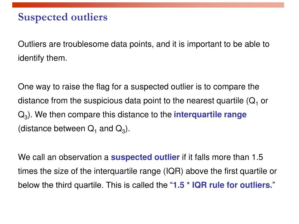 Suspected outliers