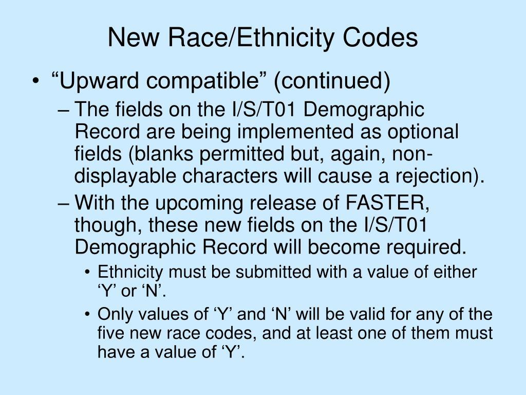 New Race/Ethnicity Codes