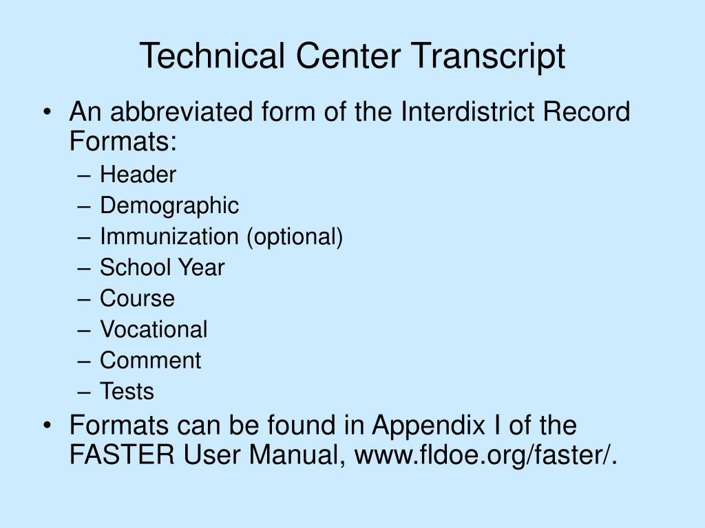 Technical Center Transcript