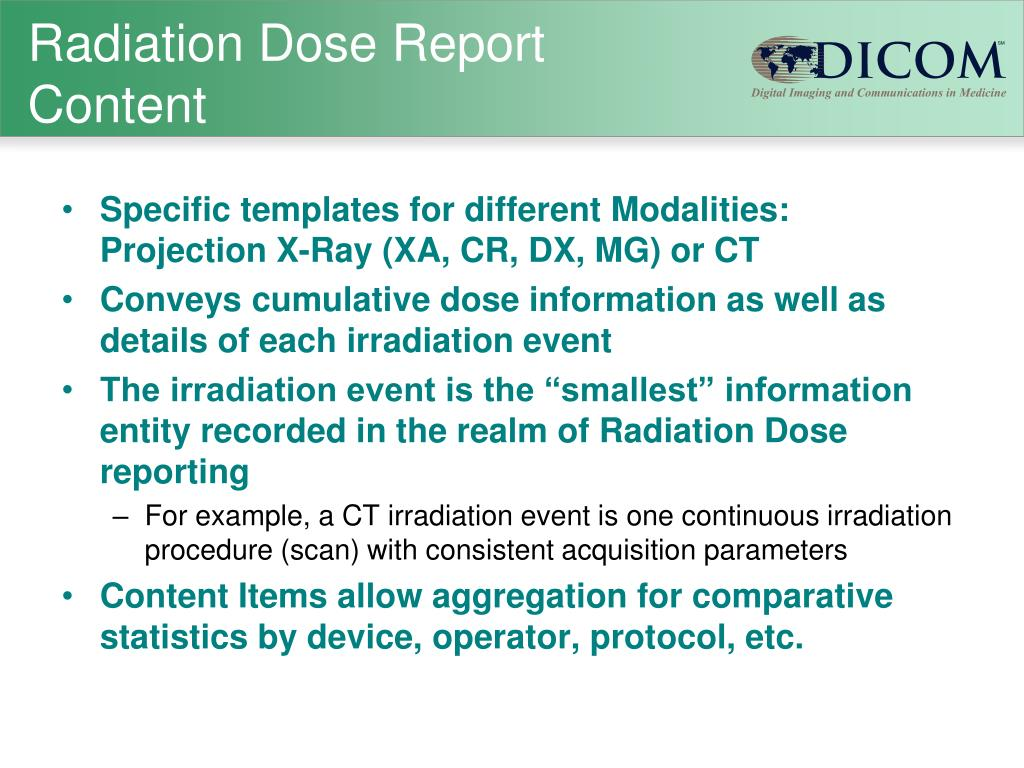 Radiation Dose Report Content