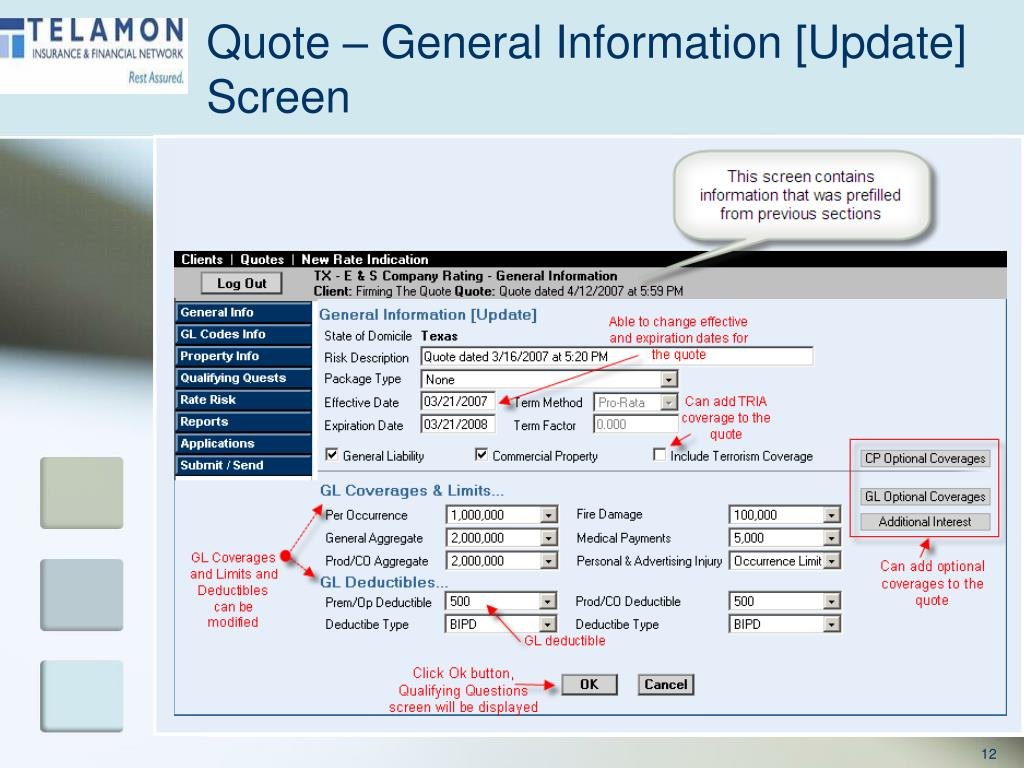 Quote – General Information [Update] Screen