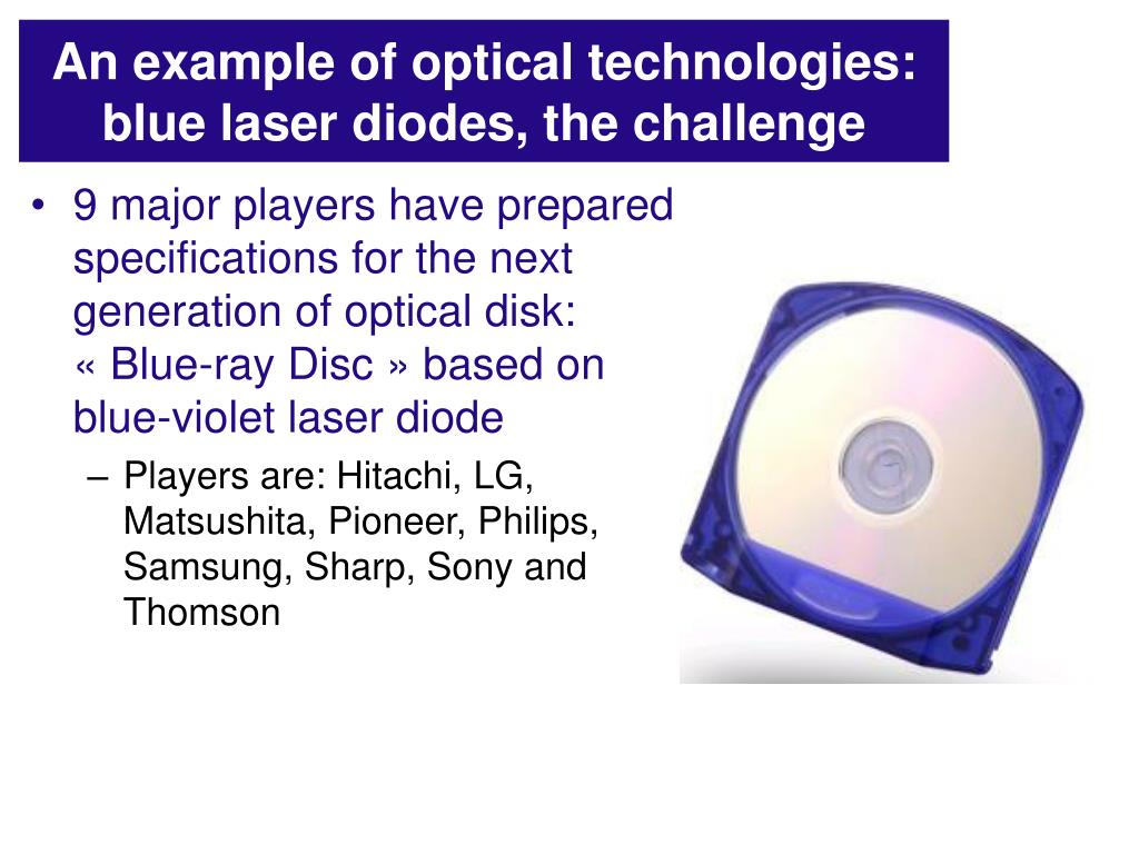 An example of optical technologies: blue laser diodes, the challenge