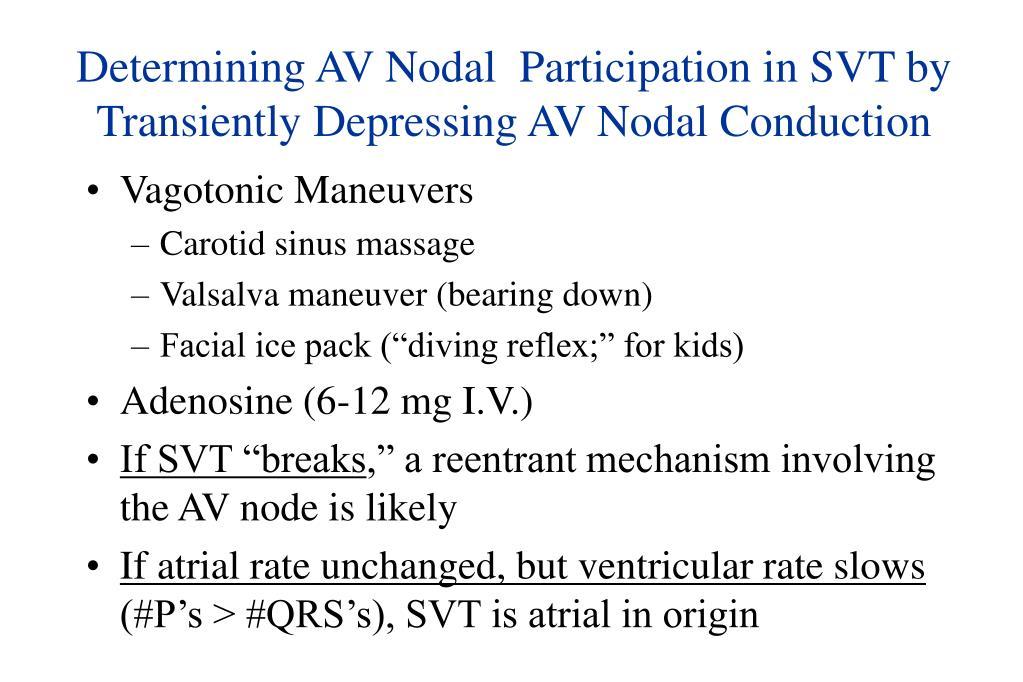 Determining AV Nodal  Participation in SVT by Transiently Depressing AV Nodal Conduction