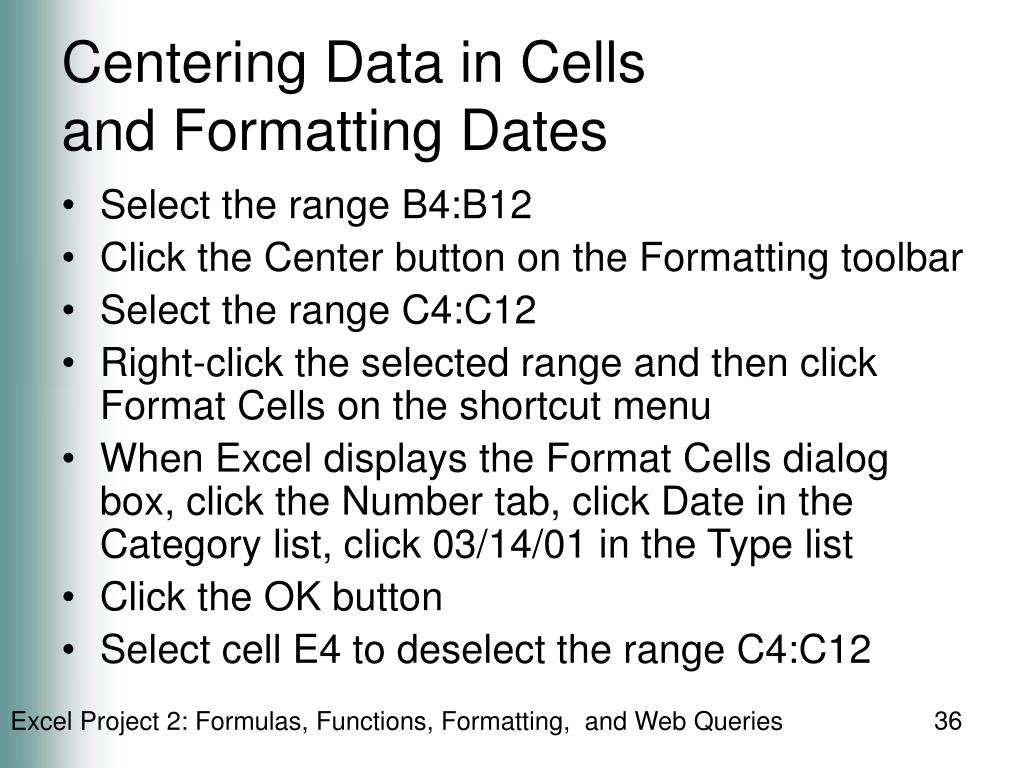 Centering Data in Cells