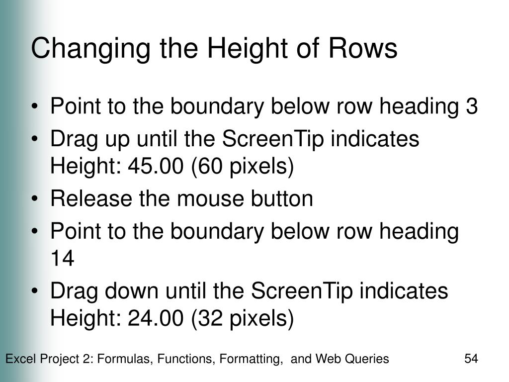 Changing the Height of Rows