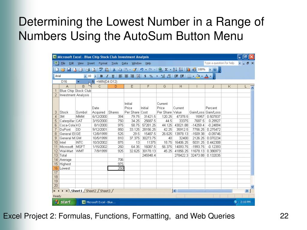 Determining the Lowest Number in a Range of Numbers Using the AutoSum Button Menu