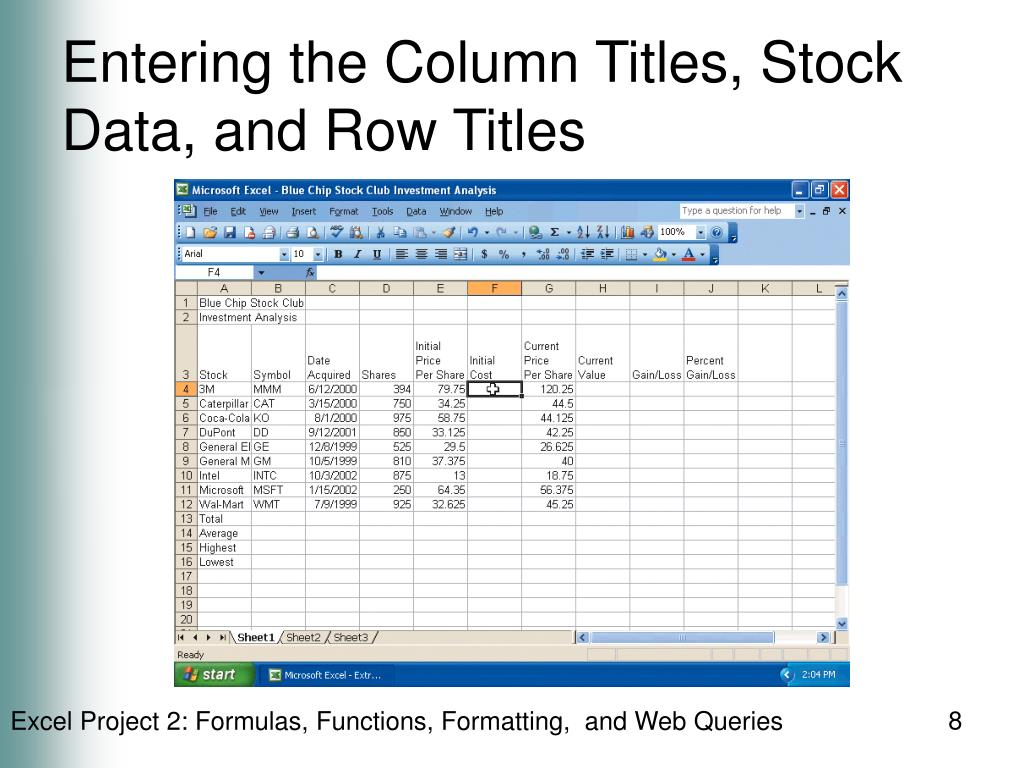 Entering the Column Titles, Stock Data, and Row Titles