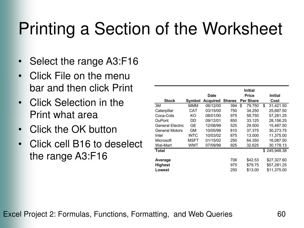 Printing a Section of the Worksheet