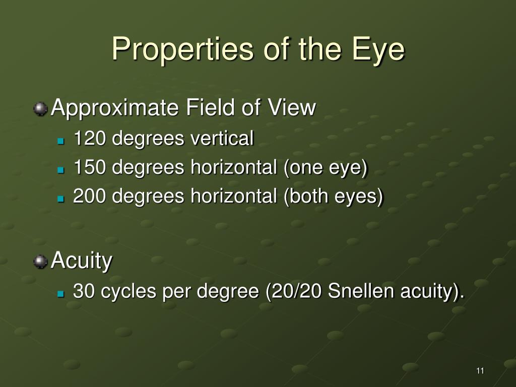 Properties of the Eye