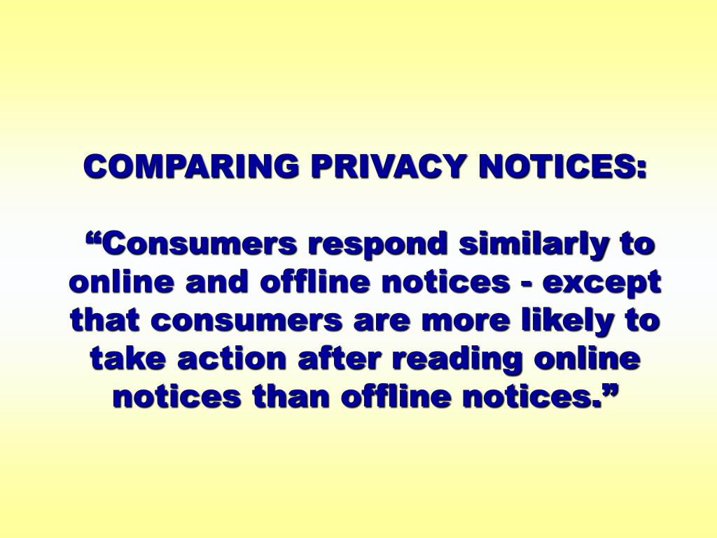 COMPARING PRIVACY NOTICES: