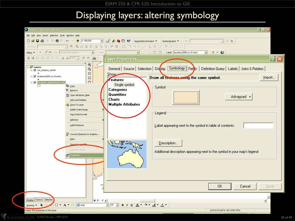 Displaying layers: altering symbology