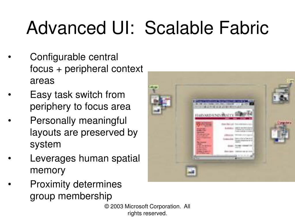 Advanced UI:  Scalable Fabric