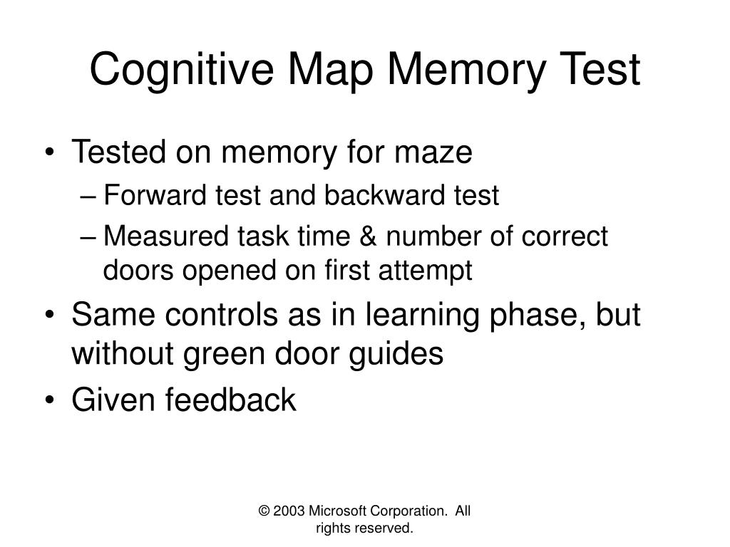 Cognitive Map Memory Test