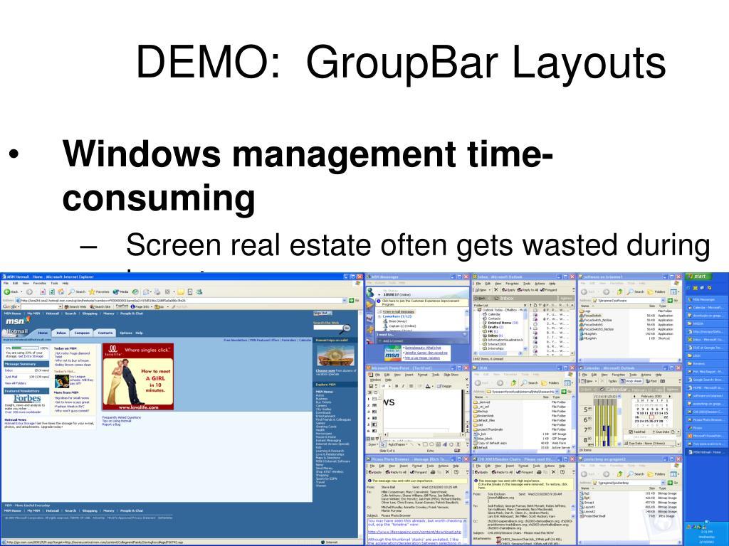 DEMO:  GroupBar Layouts
