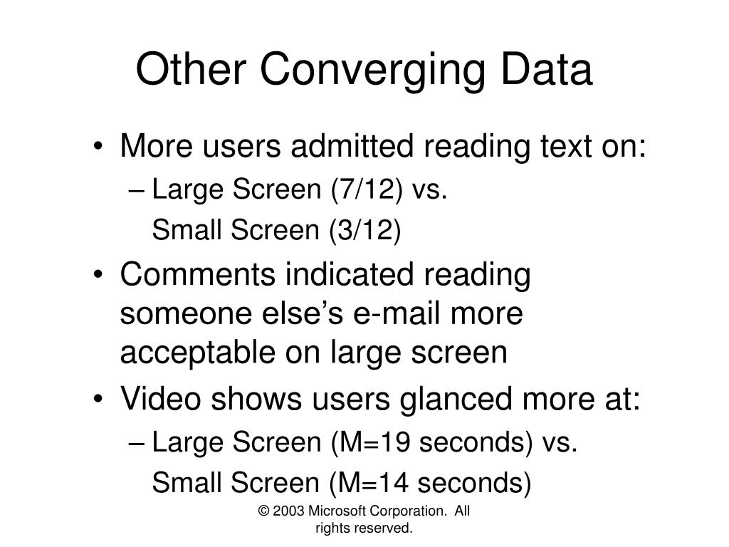 Other Converging Data