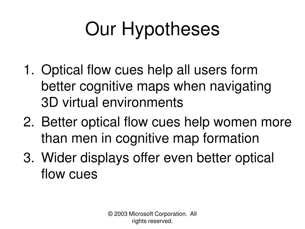 Our Hypotheses