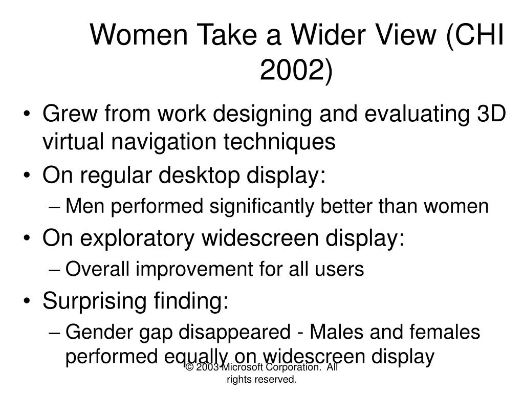 Women Take a Wider View (CHI 2002)