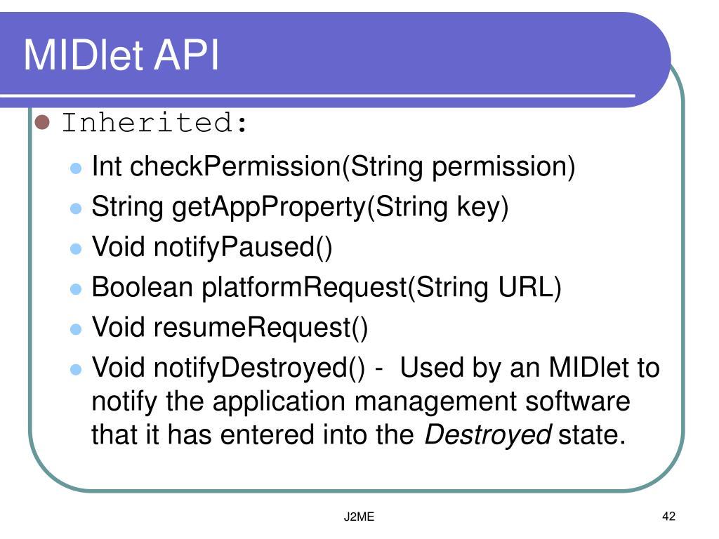 MIDlet API