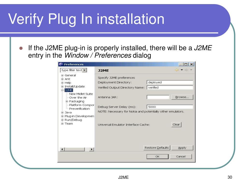 Verify Plug In installation