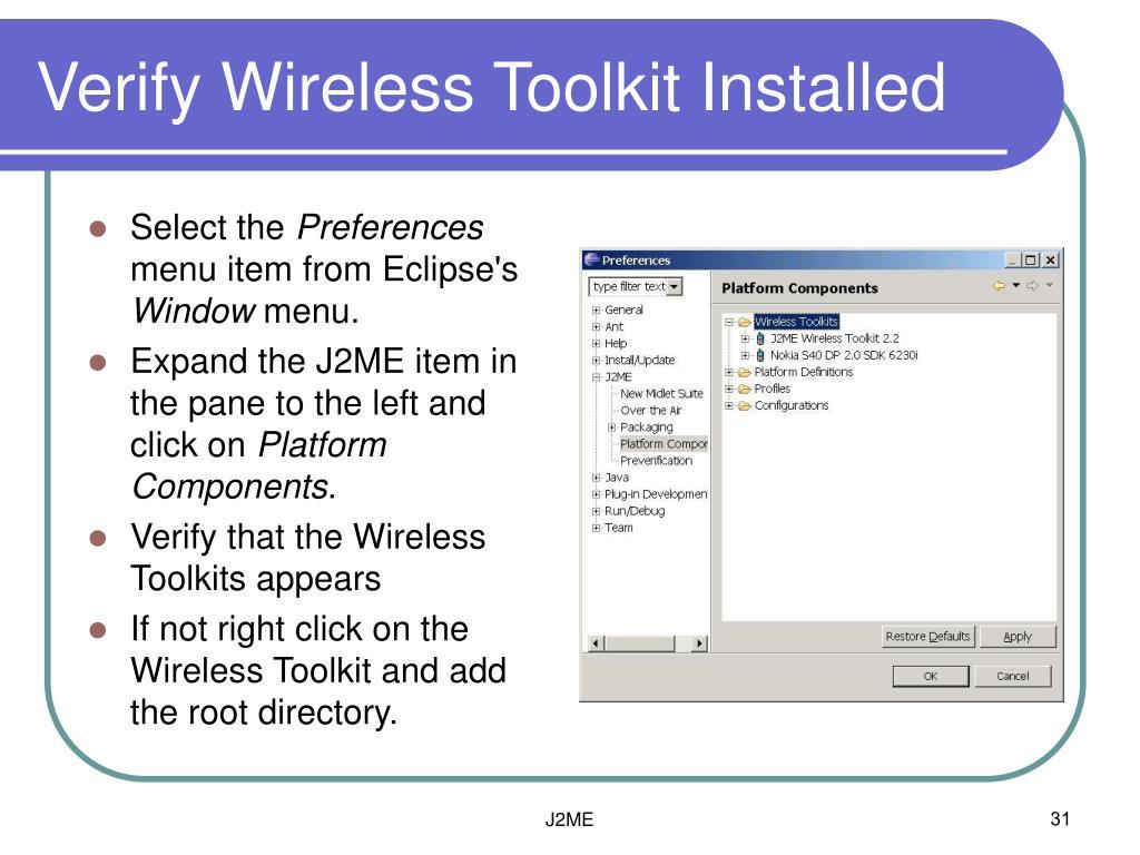 Verify Wireless Toolkit Installed