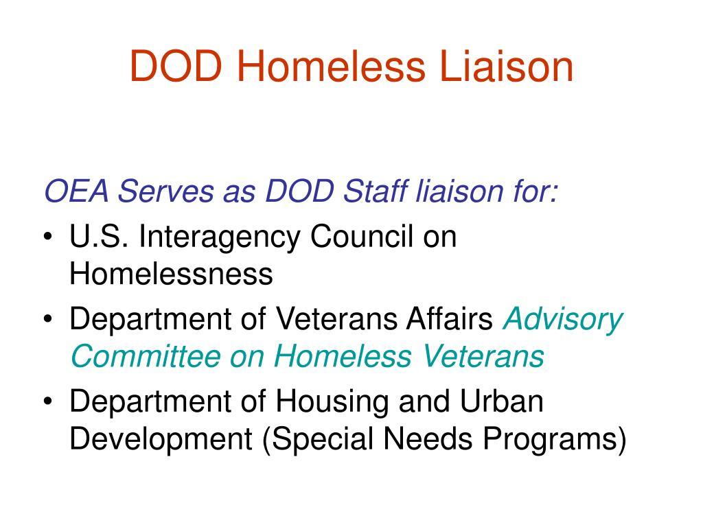 DOD Homeless Liaison