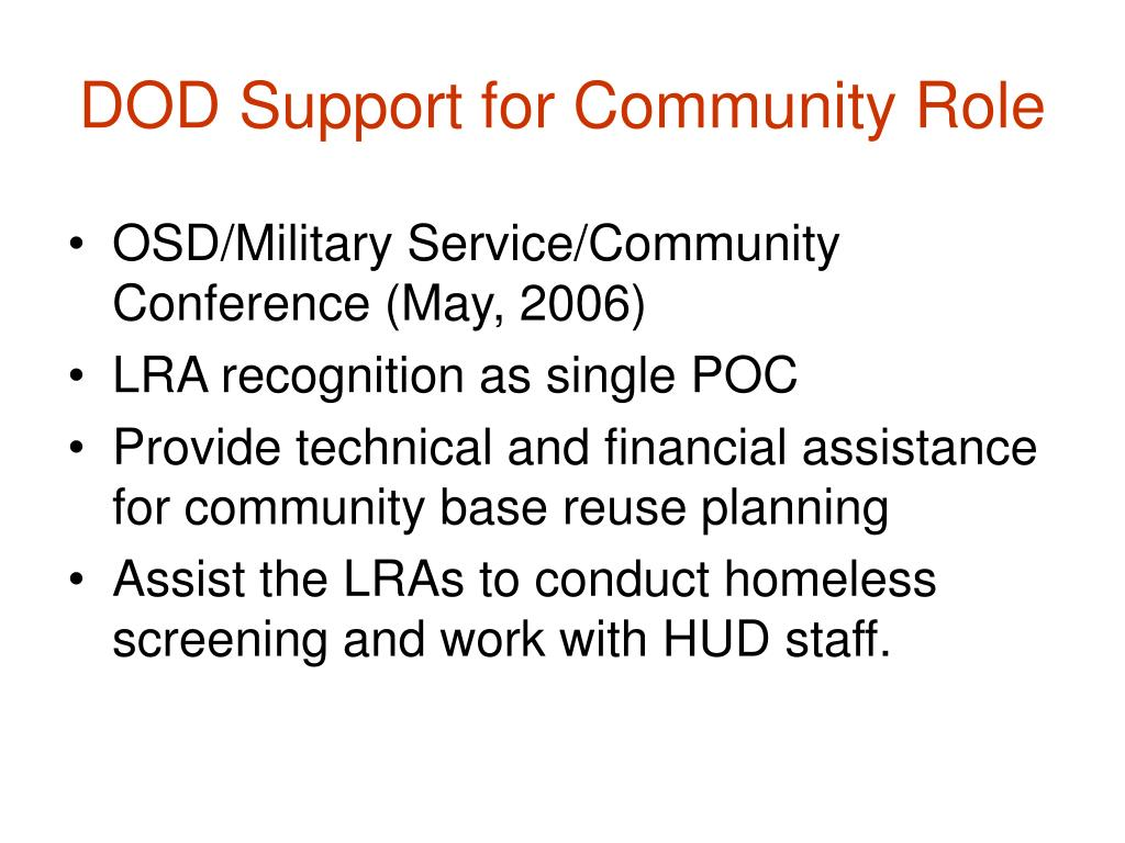 DOD Support for Community Role