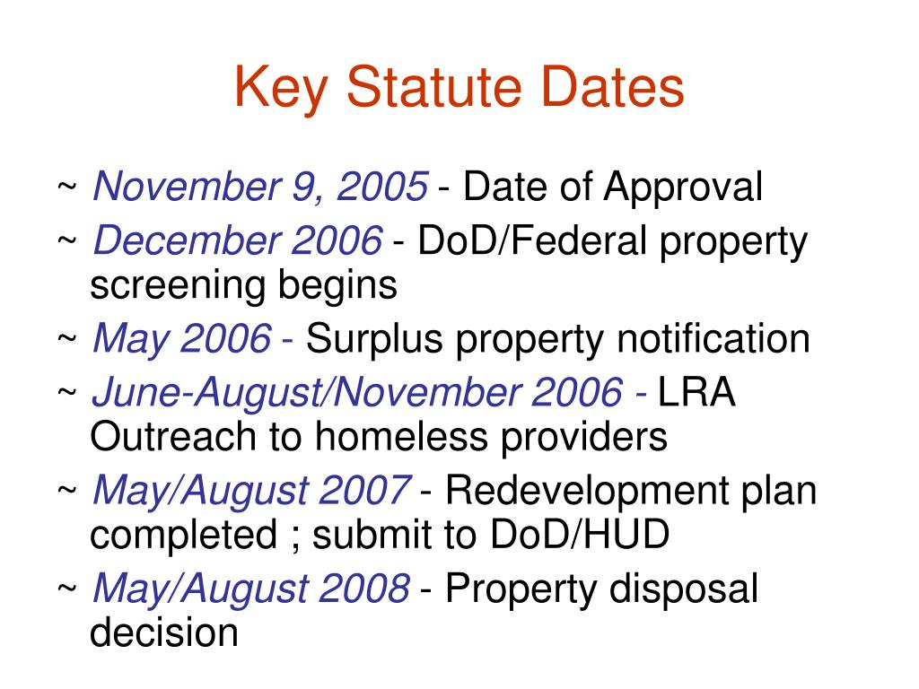 Key Statute Dates
