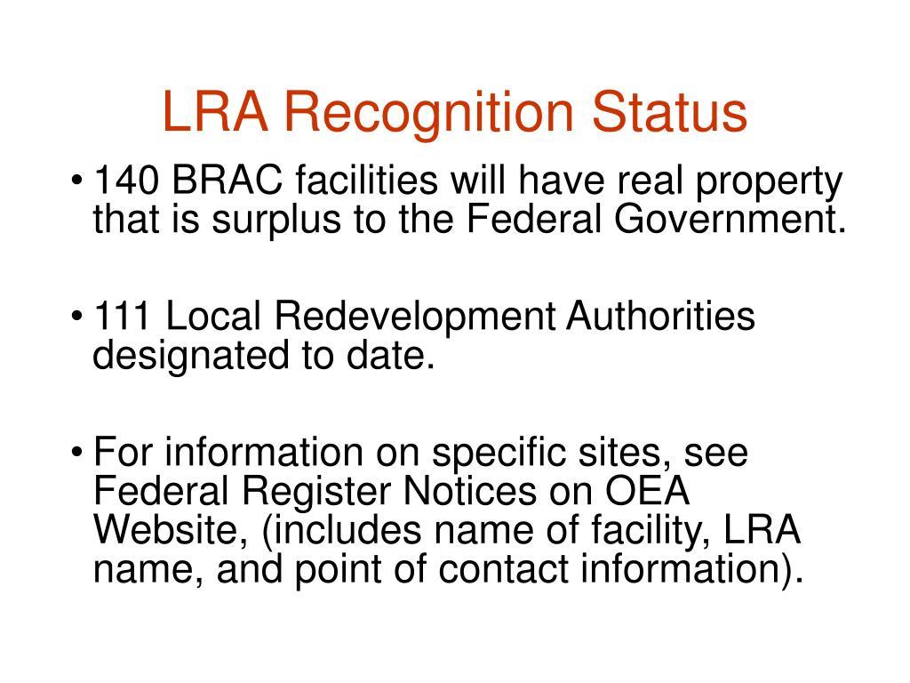 LRA Recognition Status