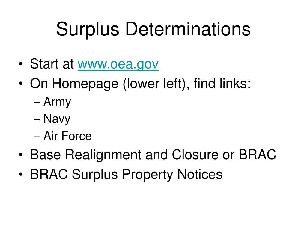 Surplus Determinations