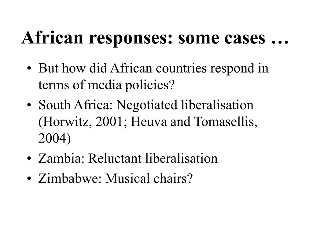 African responses: some cases …