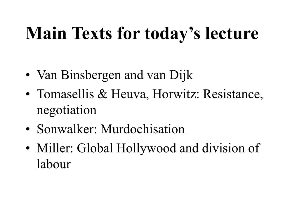 Main Texts for today's lecture