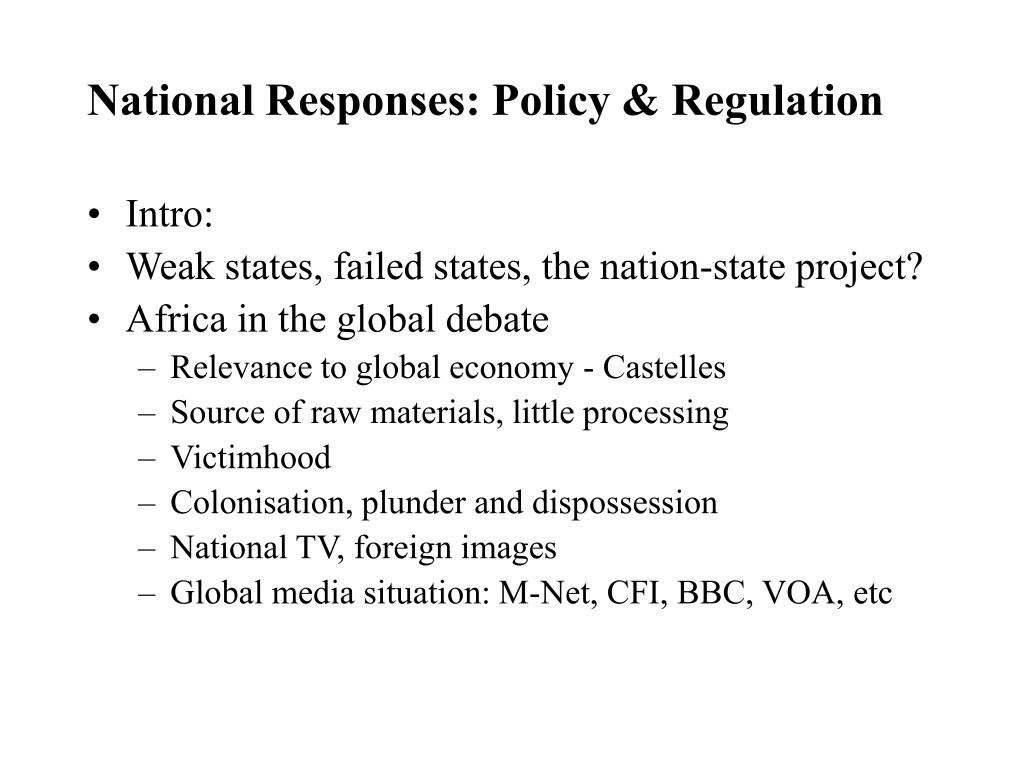 National Responses: Policy & Regulation