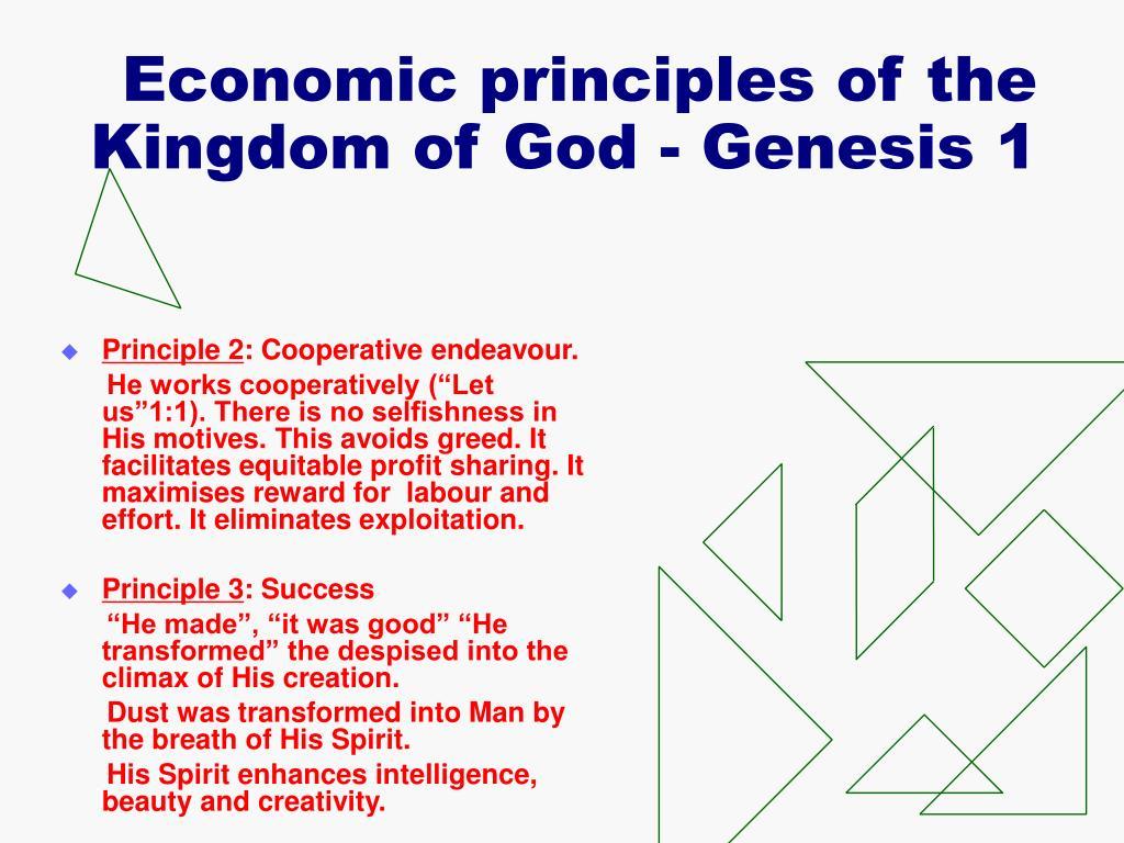 Economic principles of the Kingdom of God - Genesis 1