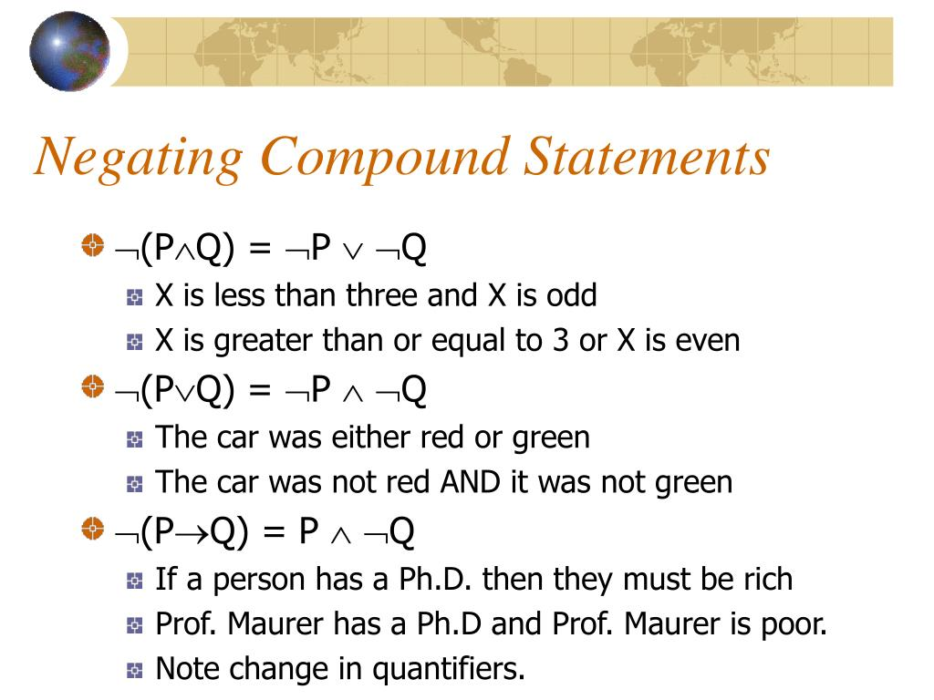 Negating Compound Statements