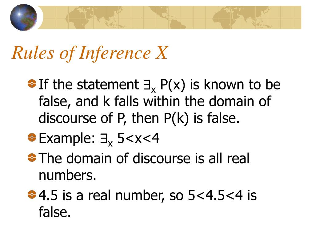 Rules of Inference X