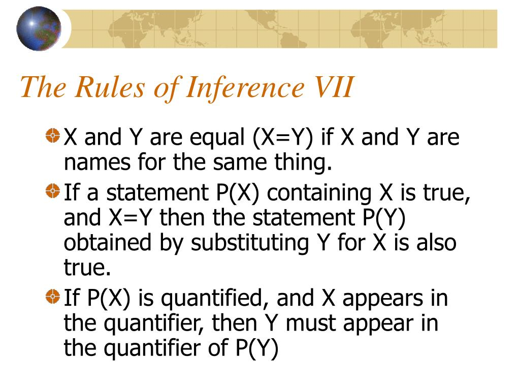 The Rules of Inference VII